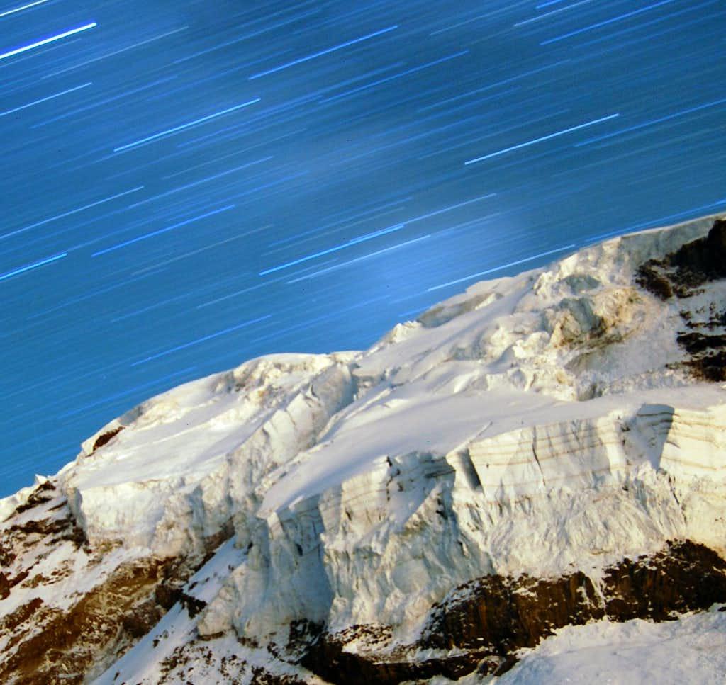 Mt Rainier ice cliff at night