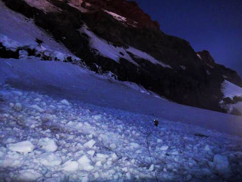 Alpine start over fresh avalanche debris