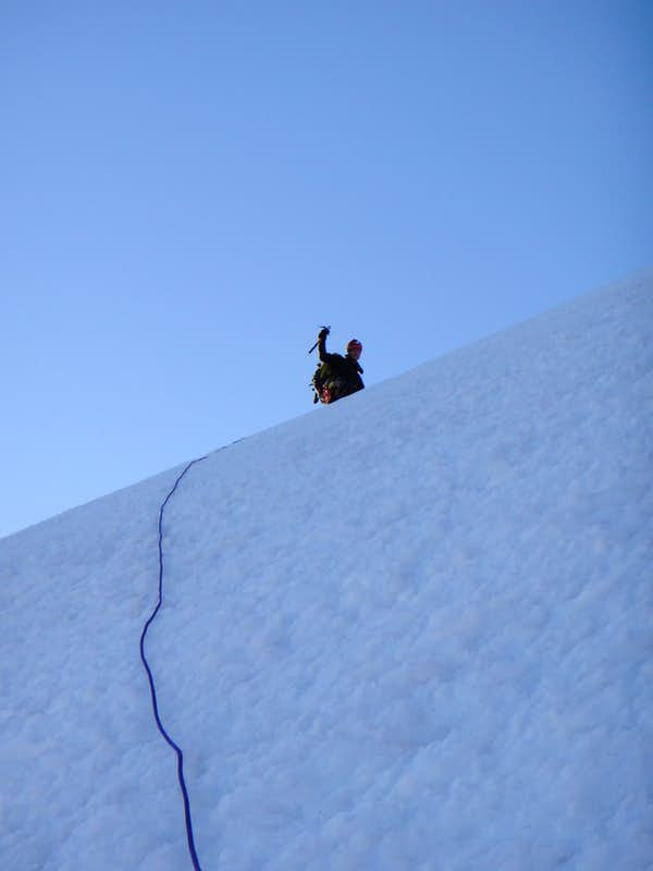 Reaching the steep & exposed icy traverse