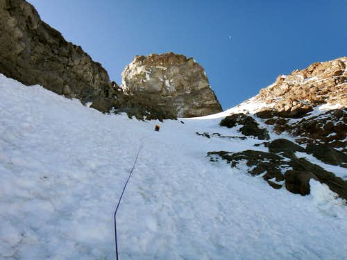 Anastasia leading the 2nd sustained icy pitch on Ptarmigan Ridge