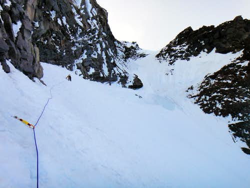 Anastasia leading another sustained icy pitch on Ptarmigan Ridge.