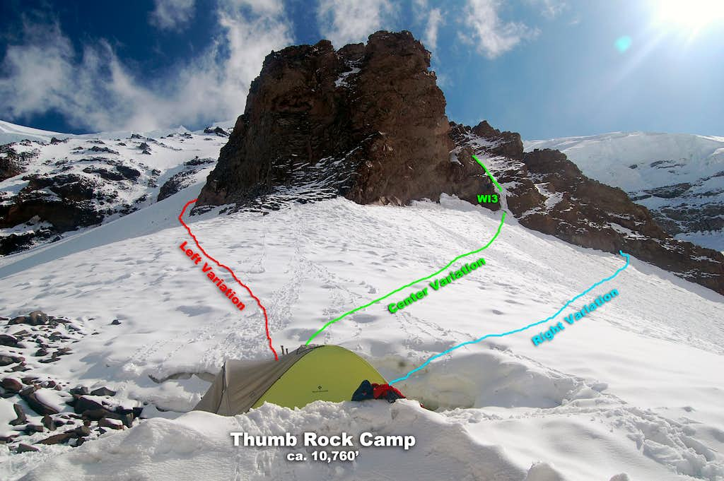 Route variations form Thumb Rock Camp (10,760')