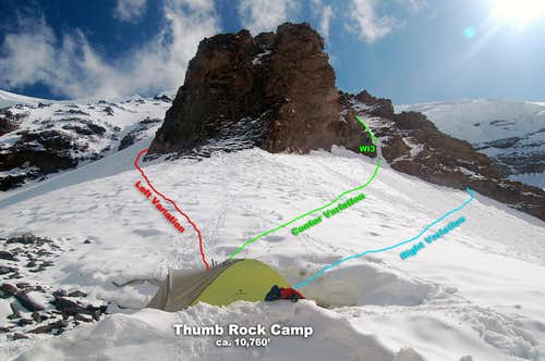 Route variations form Thumb Rock Camp (10,760\')