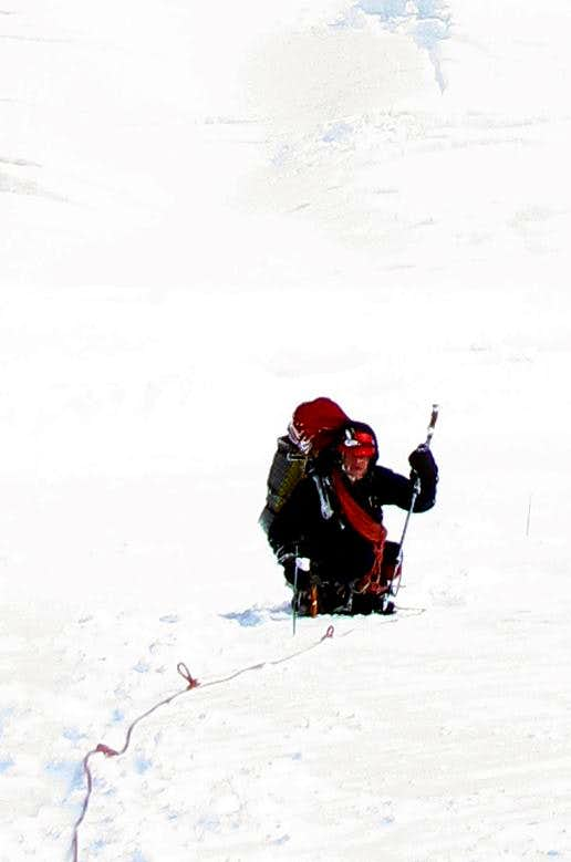 Descending the Emmons Glacier in Whiteout Conditions