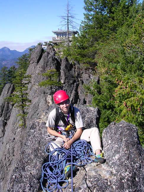 Mark belaying from the rappel...