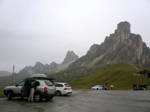 Parking lot at the Passo Giau