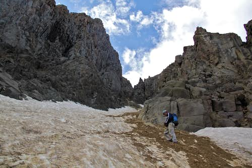 Crossing the snow gully