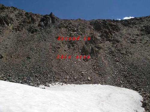 scree ascent route