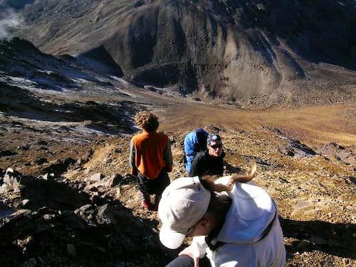 Climbing the ridge. It is not...