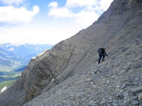 Long scree traverse