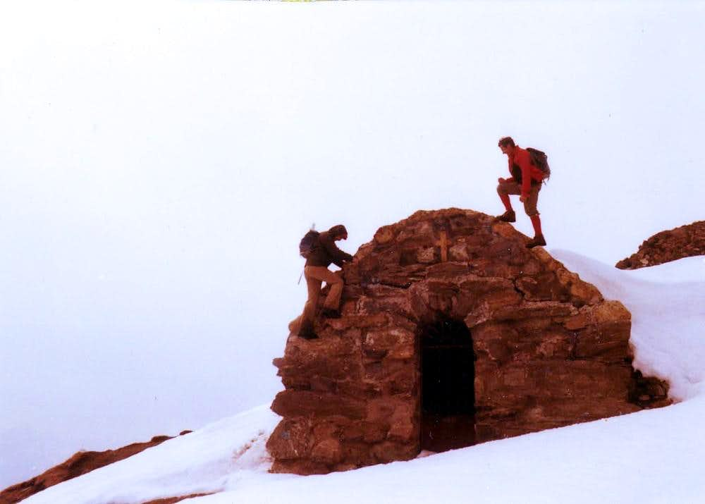 Climbing on the Old Madonna of Snow
