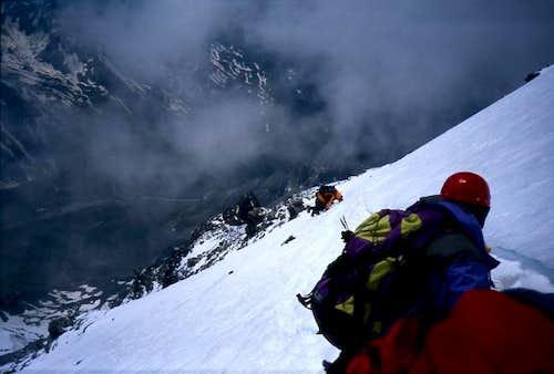 Descending the south-west face.