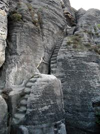 Old steps carved in the rock called