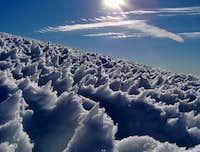 Mt Adams snow formations above false summit