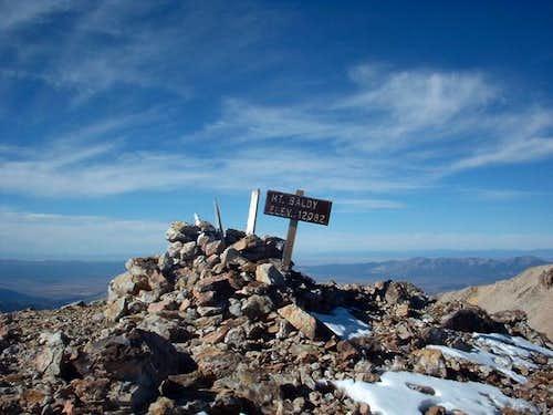 Summit marker on Baldy,...