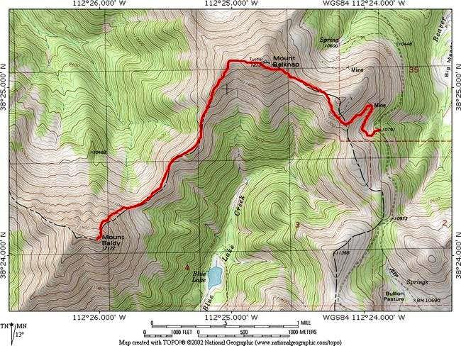 Basic USGS quad showing route...