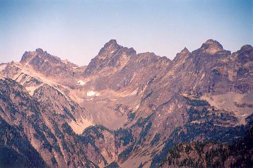 Left to right: Overcoat Peak,...