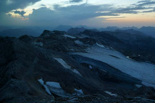 Evening lights above the remains of the gletscher between the Hoher Kopf and Hochkönig