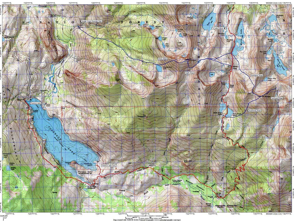 Route Map for Mount Hooper and Mount Senger