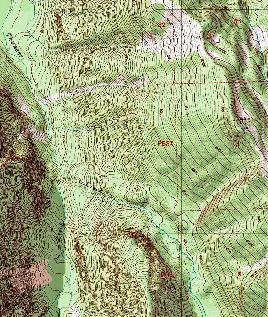 Thunder Creek Topographic Map