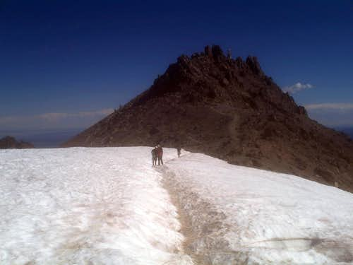 Heading across the snowfield