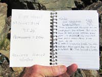 Summit register for Cape Horn Mtn (ID)