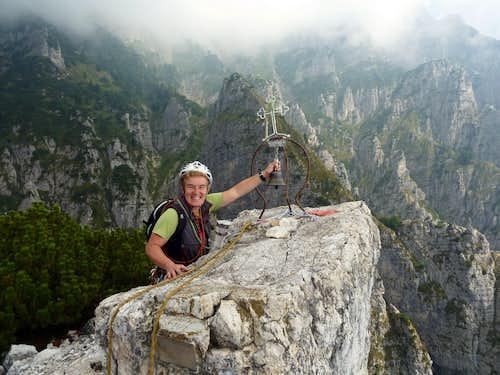 Campanile di Val Fontana d'Oro, ringing the summit bell