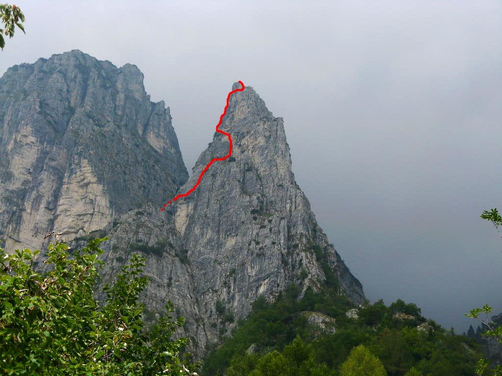 Campanile di Val Fontana d'Oro (Gold Fountain Valley Needle) Bortolan-Padovan Route