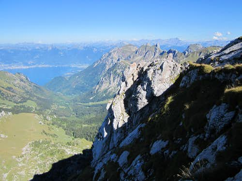 View from the summit of Dent d Oche towards Montreux