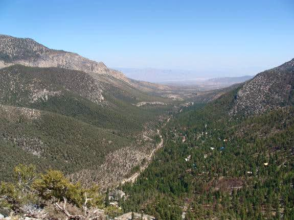 View of Kyle Canyon from Cathedral Rock