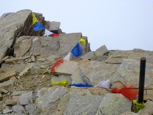 Prayer flags on the Romariskopf summit