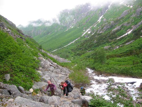 Hiking up the Chilkoot