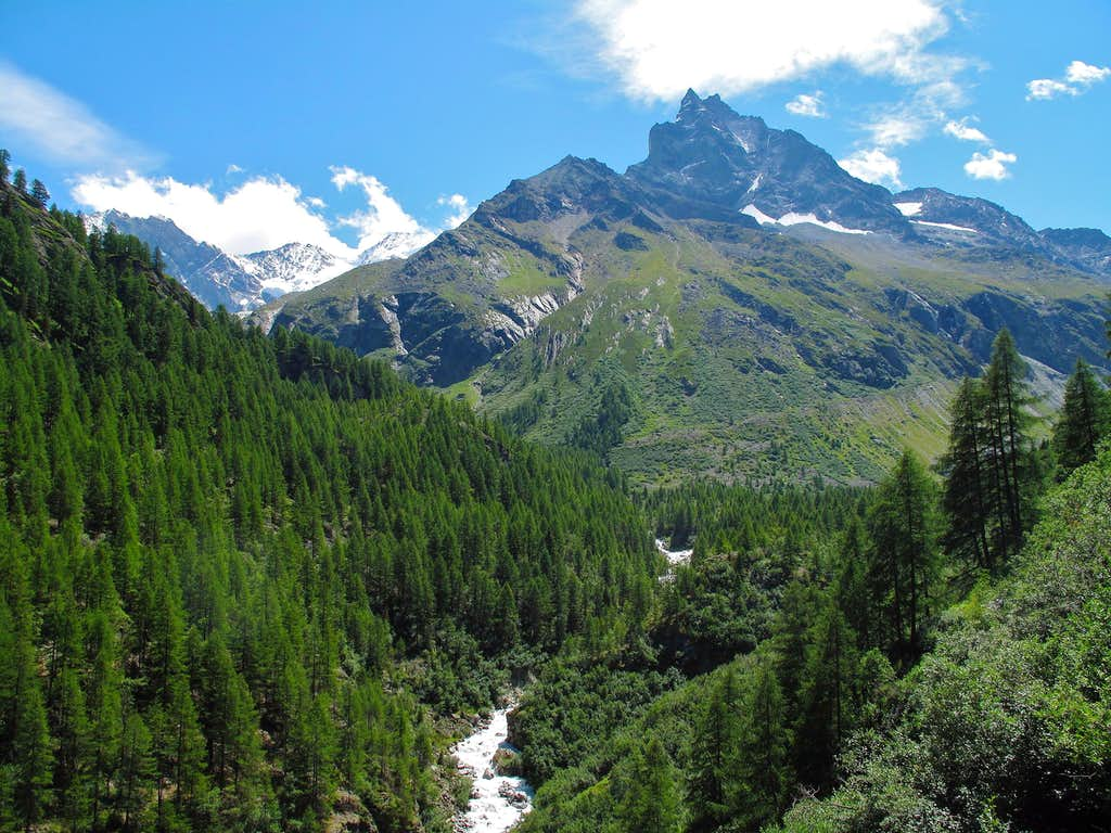 Mount Besso dominating the very upper part of the Zinal valley