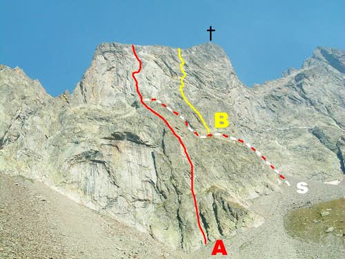 Corno Stella SW face Campia and Lupetti Routes