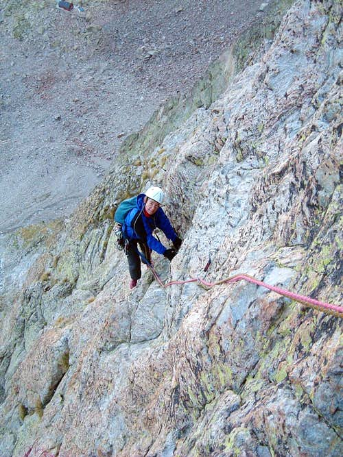 Corno Stella - Climbing SW Face on early morning