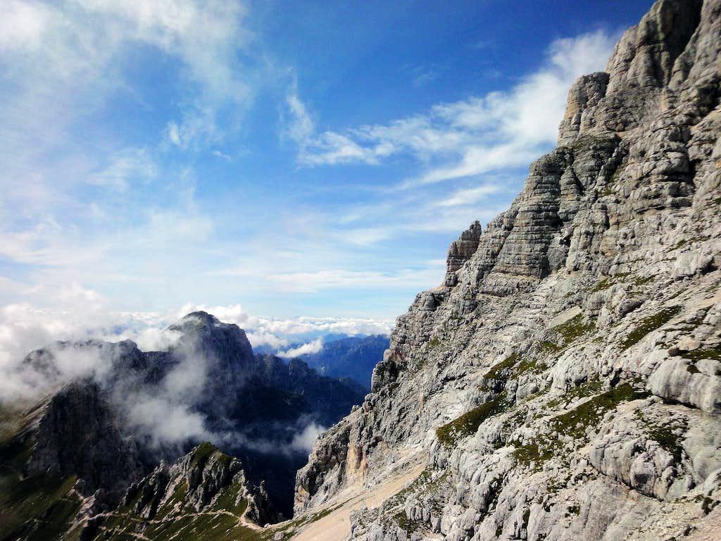 Monte Zabus and Monte Cimone in clouds