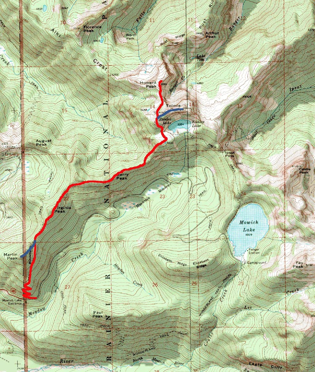 Winter Route From Mowich Lake Park Boundary