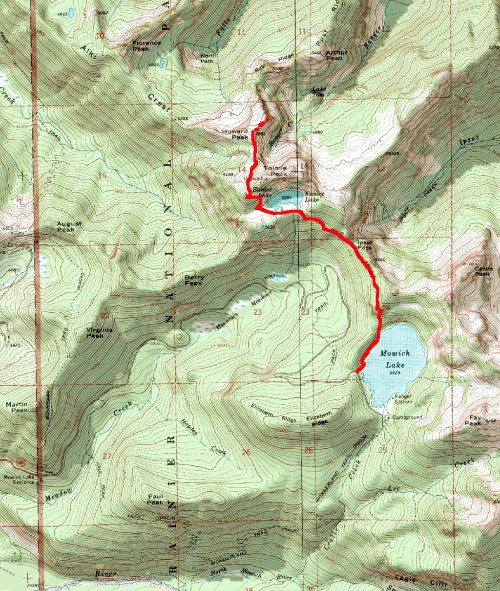 Summer Route From Mowich Lake