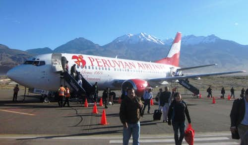 Arrival at Arequipa airport - Chachani in the background