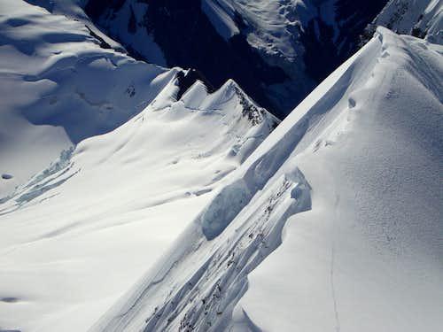 Our tracks on Mount Robson summit ridge
