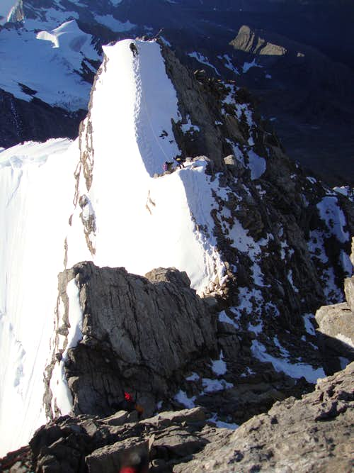 Scary ridge leading to Dome