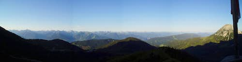 Panorama of the Alps seen from the Südwandhütte