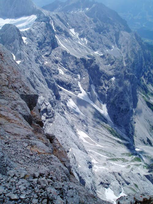 Looking down the Dachstein Südwand - I climbed this!