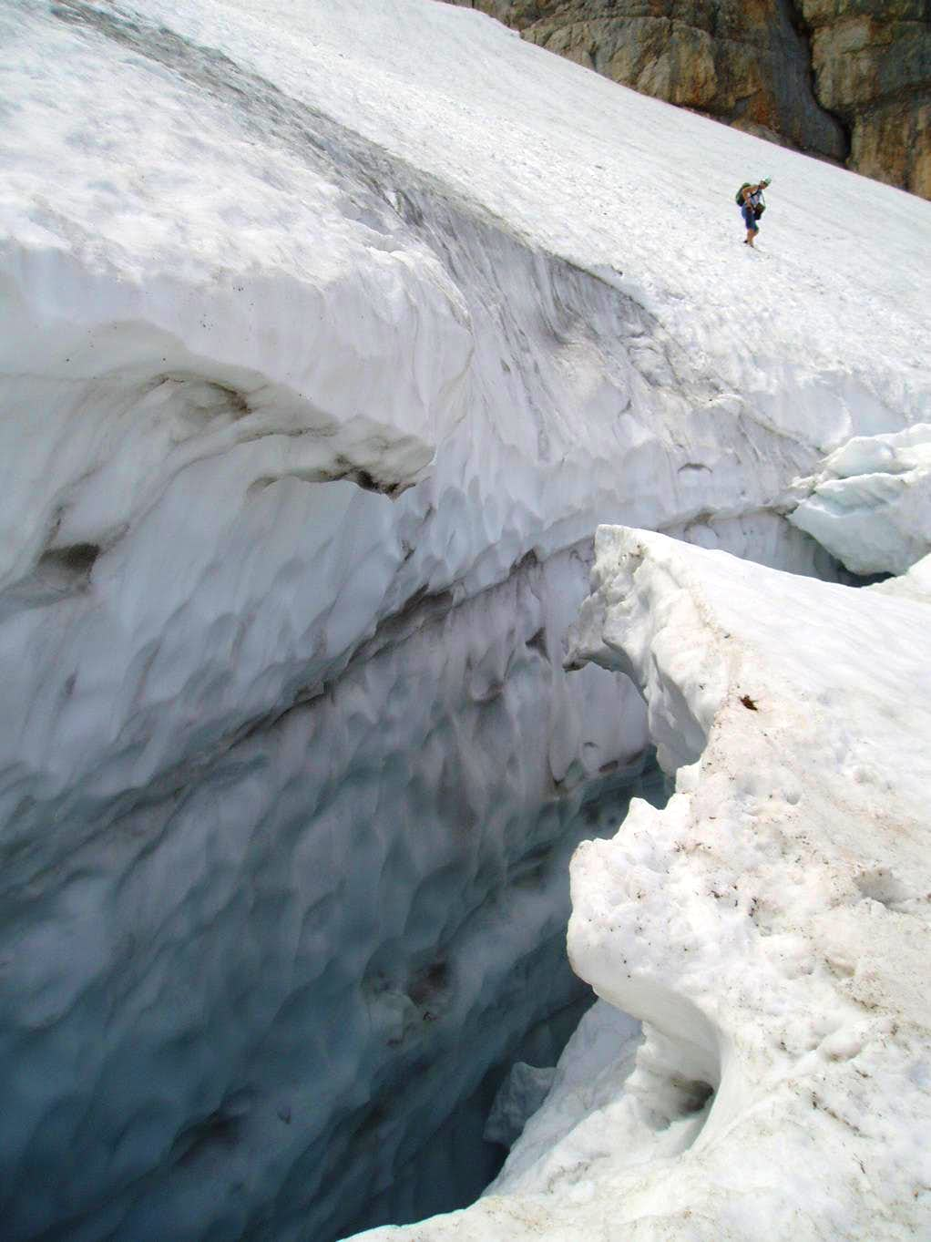 Crevasse on the descent from Hoher Dachstein