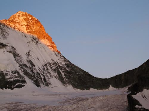 Dent Blanche (4357m) and Col de la Dent Blanche (3531m) early in the morning