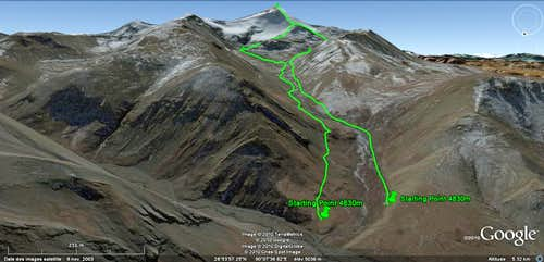 Jitan Zhoma NW face - Route overview