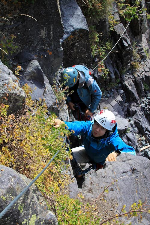 Easy section of the via ferrata