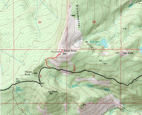 Topo Route for South Butte