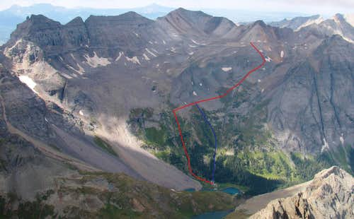 Route to the Upper Basin West of Blue Lakes
