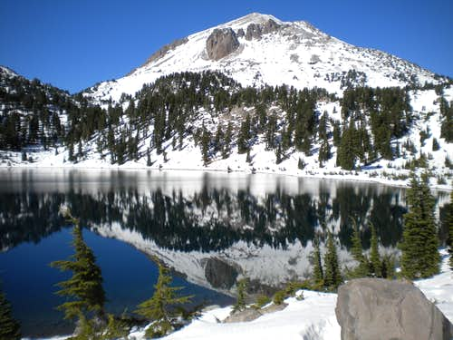 Lassen reflected in Lake Helen